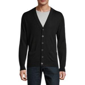 Black Brown Merino Wool Cardigan